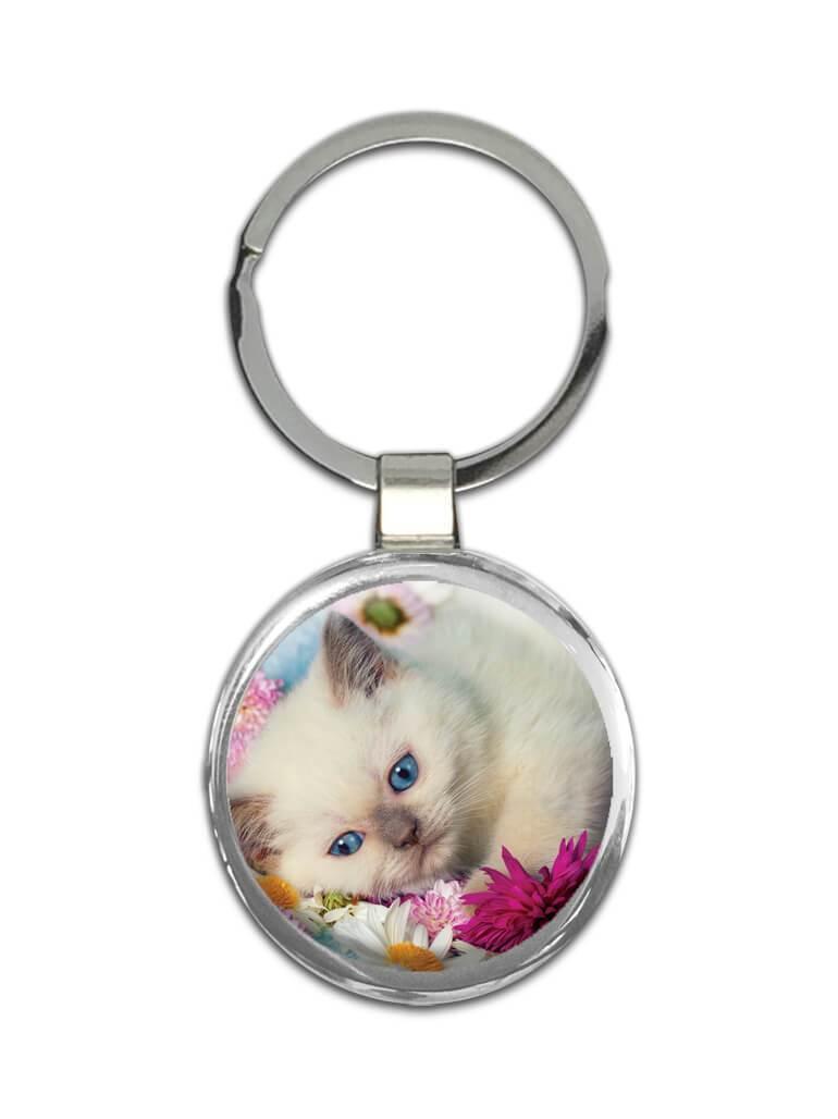 Cat : Gift Keychain Kitten Cute Funny Friendship Pet Flowers