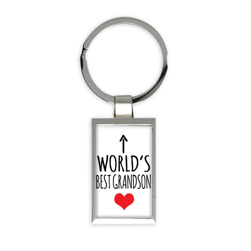 Worlds Best GRANDSON : Gift Keychain Heart Love Family Work Christmas Birthday