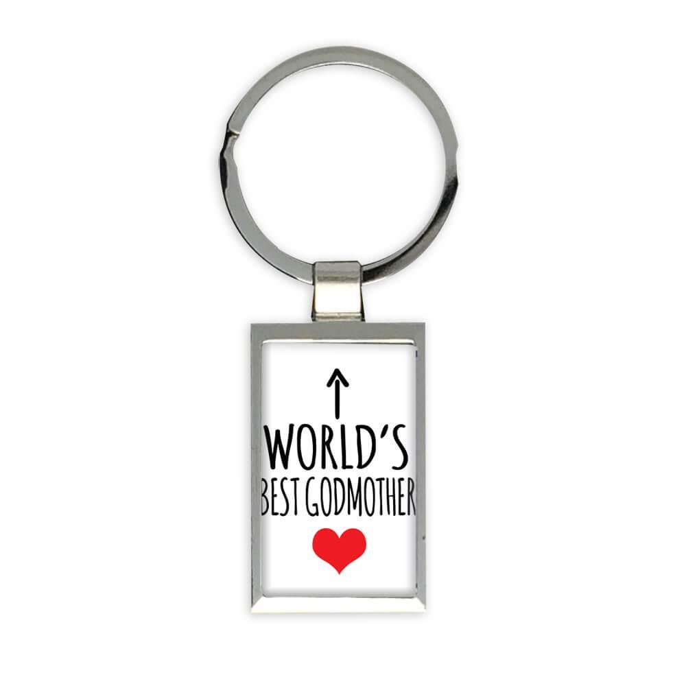 Worlds Best GODMOTHER : Gift Keychain Heart Love Family Work Christmas Birthday