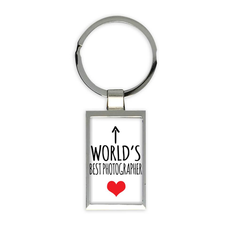 Worlds Best PHOTOGRAPHER : Gift Keychain Heart Love Family Work Christmas Birthday