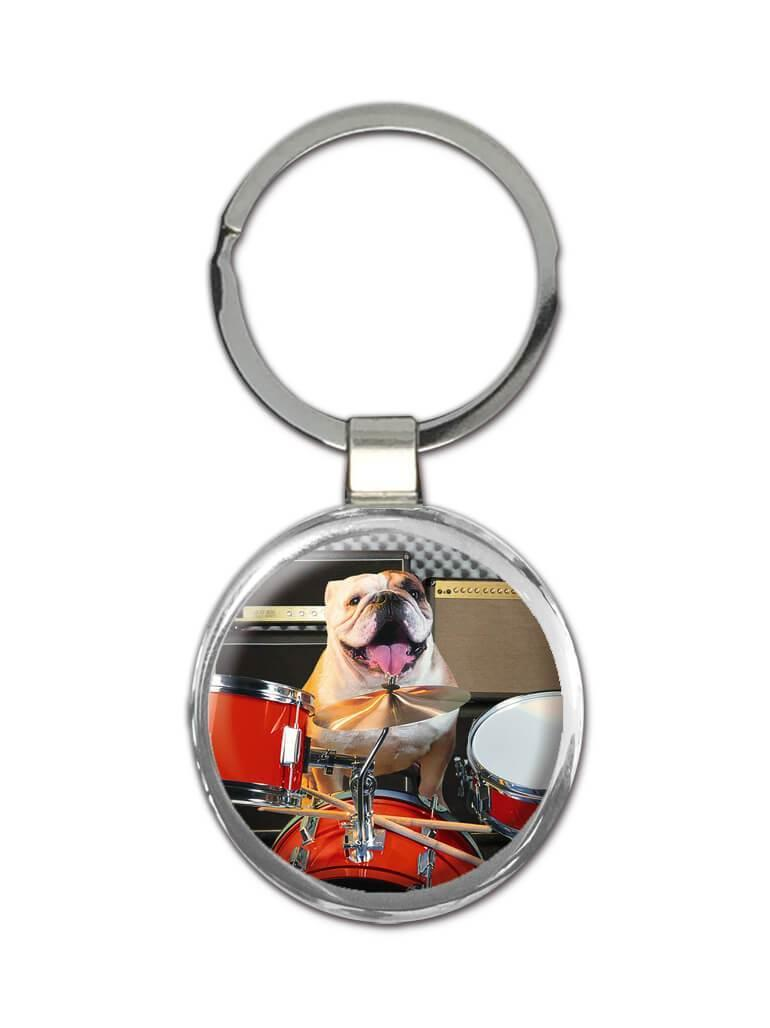 Bulldog : Gift Keychain Pet Animal Puppy Music Dog Cute Drums Funny