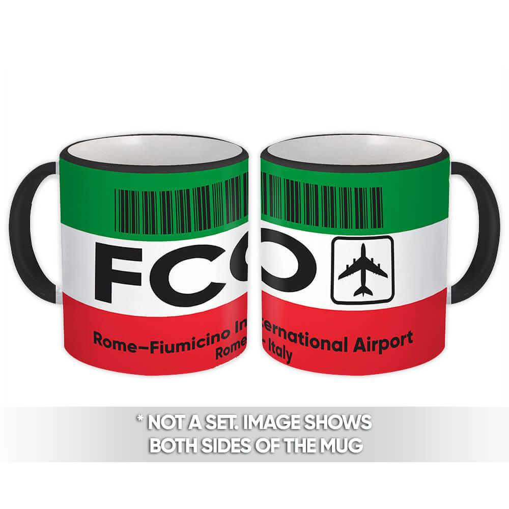 Italy Rome–Fiumicino Airport Rome FCO : Gift Mug Travel Airline Pilot AIRPORT