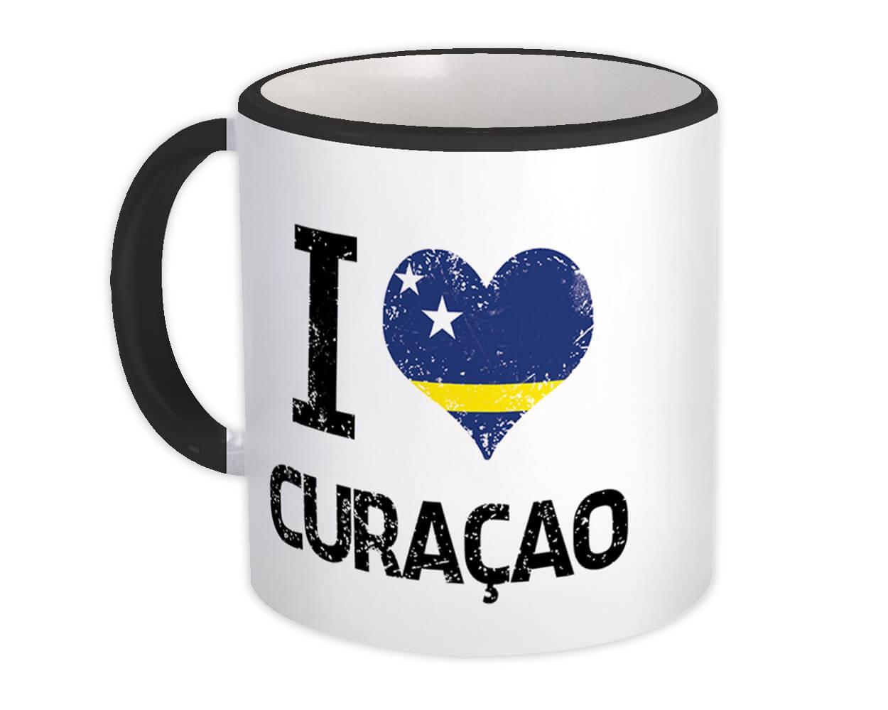 I Love Curaçao : Gift Mug Heart Flag Country Crest Expat