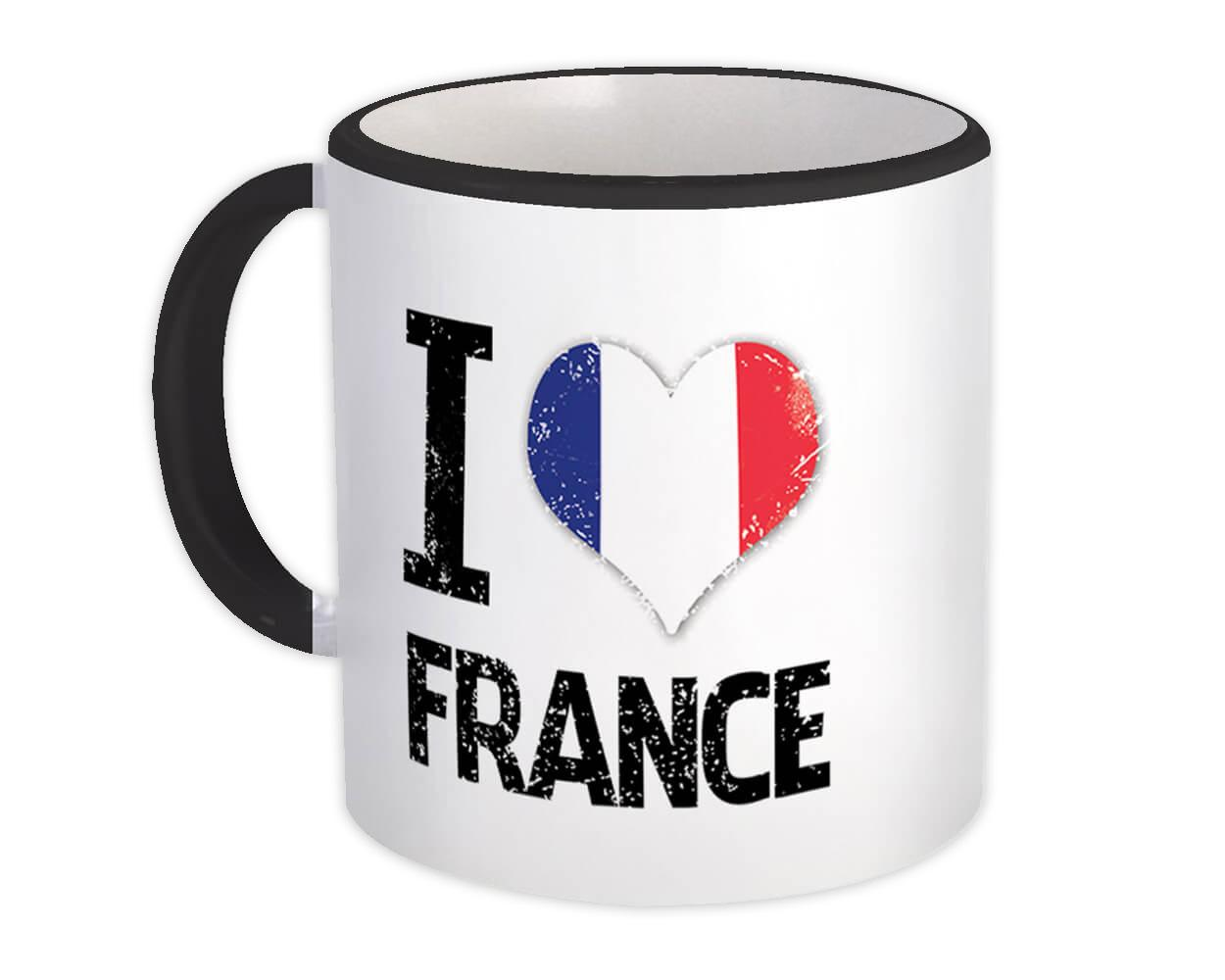I Love France : Gift Mug Heart Flag Country Crest French Expat