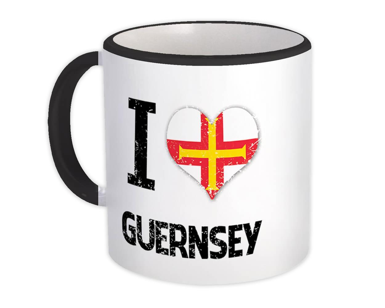 I Love Guernsey : Gift Mug Heart Flag Country Crest Expat