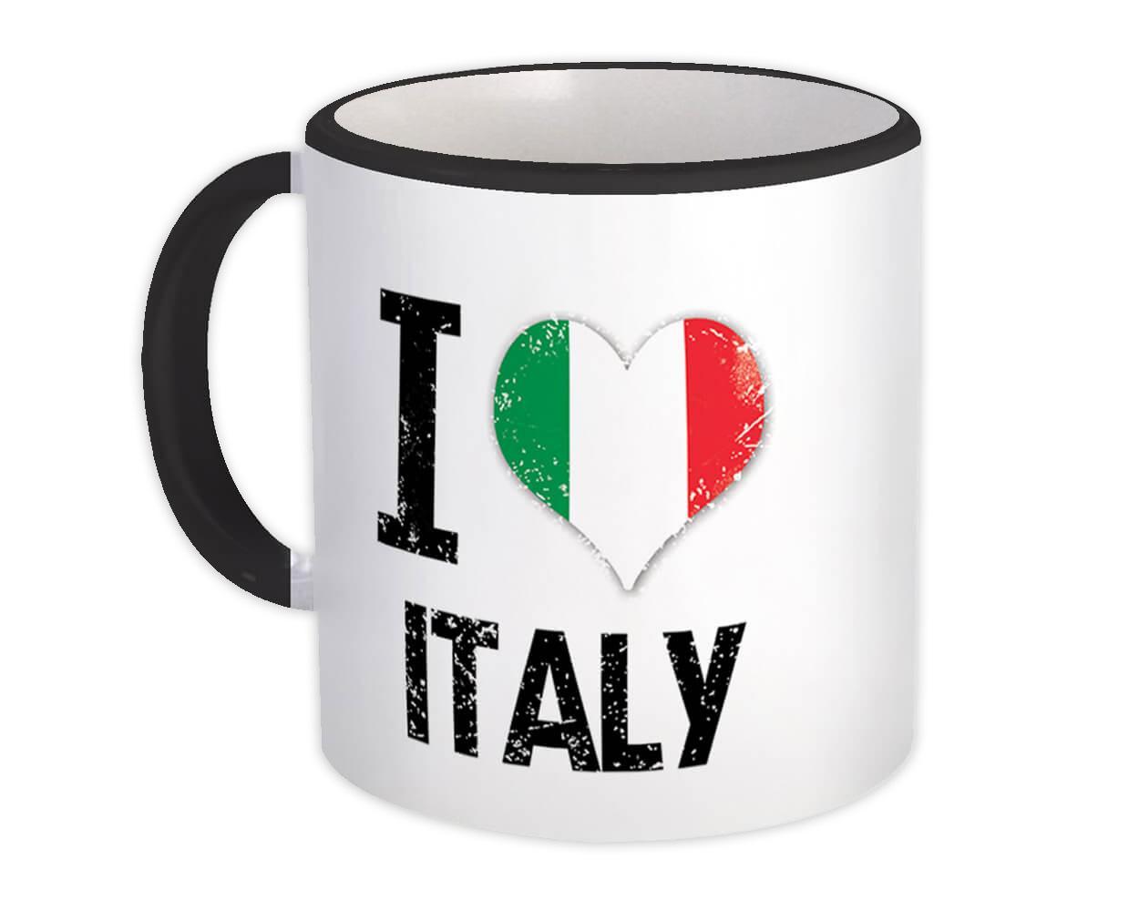 I Love Italy : Gift Mug Heart Flag Country Crest Italian Expat