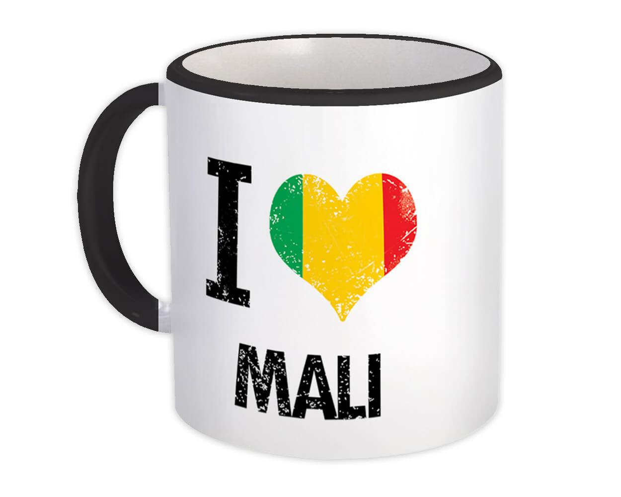 I Love Mali : Gift Mug Heart Flag Country Crest Malian Expat