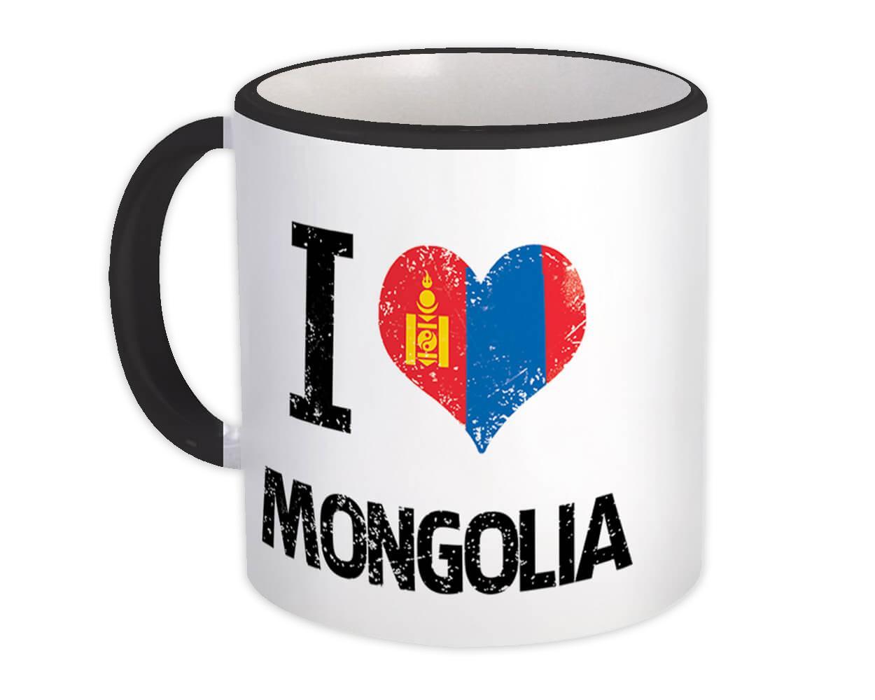 I Love Mongolia : Gift Mug Heart Flag Country Crest Mongolian Expat