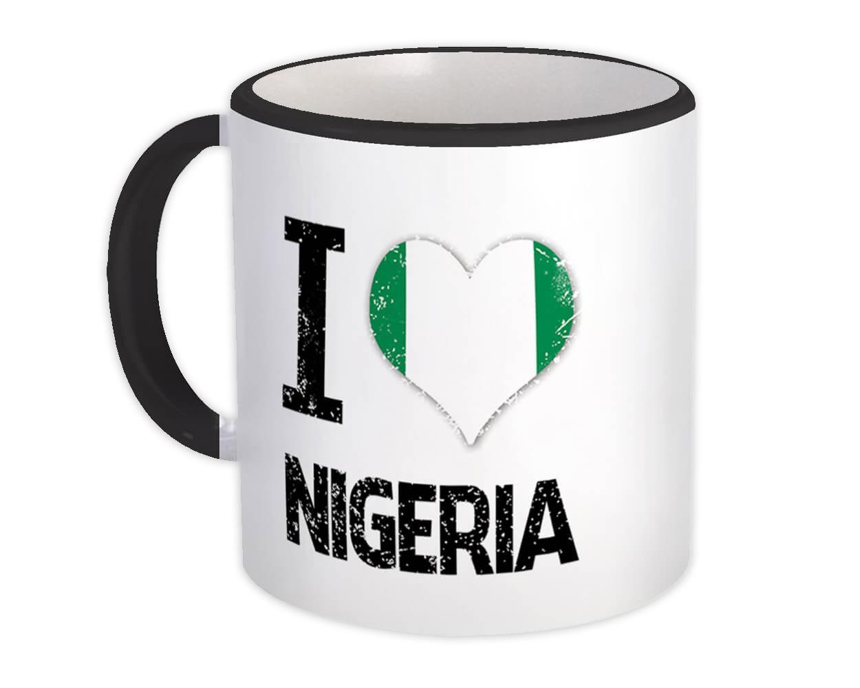 I Love Nigeria : Gift Mug Heart Flag Country Crest Expat