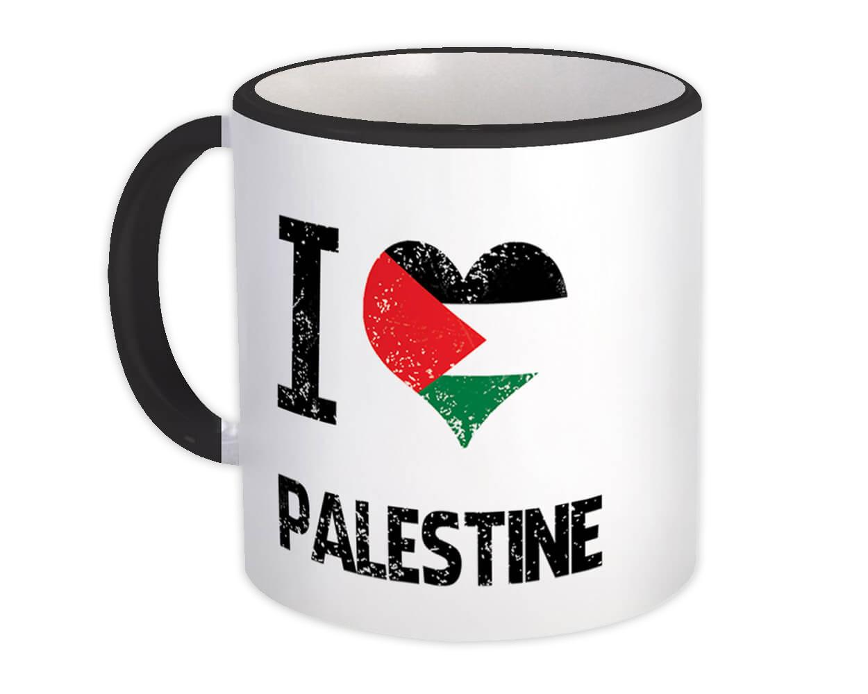 I Love Palestine : Gift Mug Heart Flag Country Crest Palestinian Expat