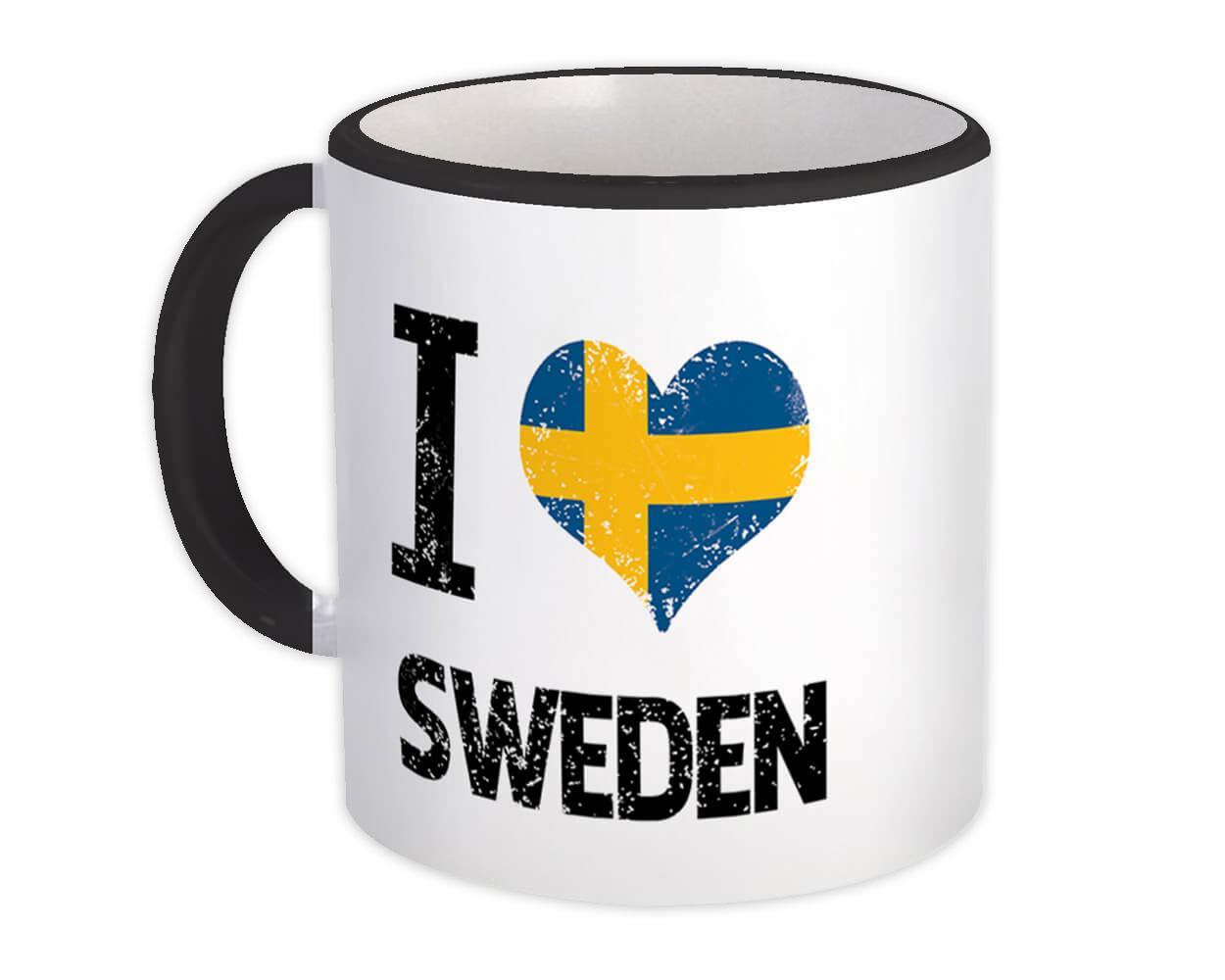 I Love Sweden : Gift Mug Heart Flag Country Crest Swedish Expat