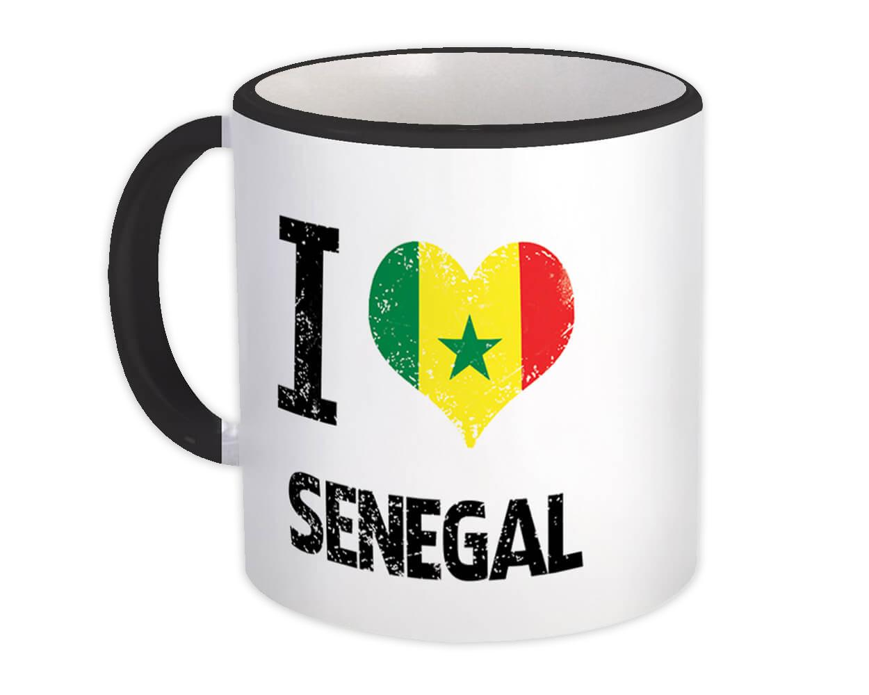 I Love Senegal : Gift Mug Heart Flag Country Crest Senegalese Expat