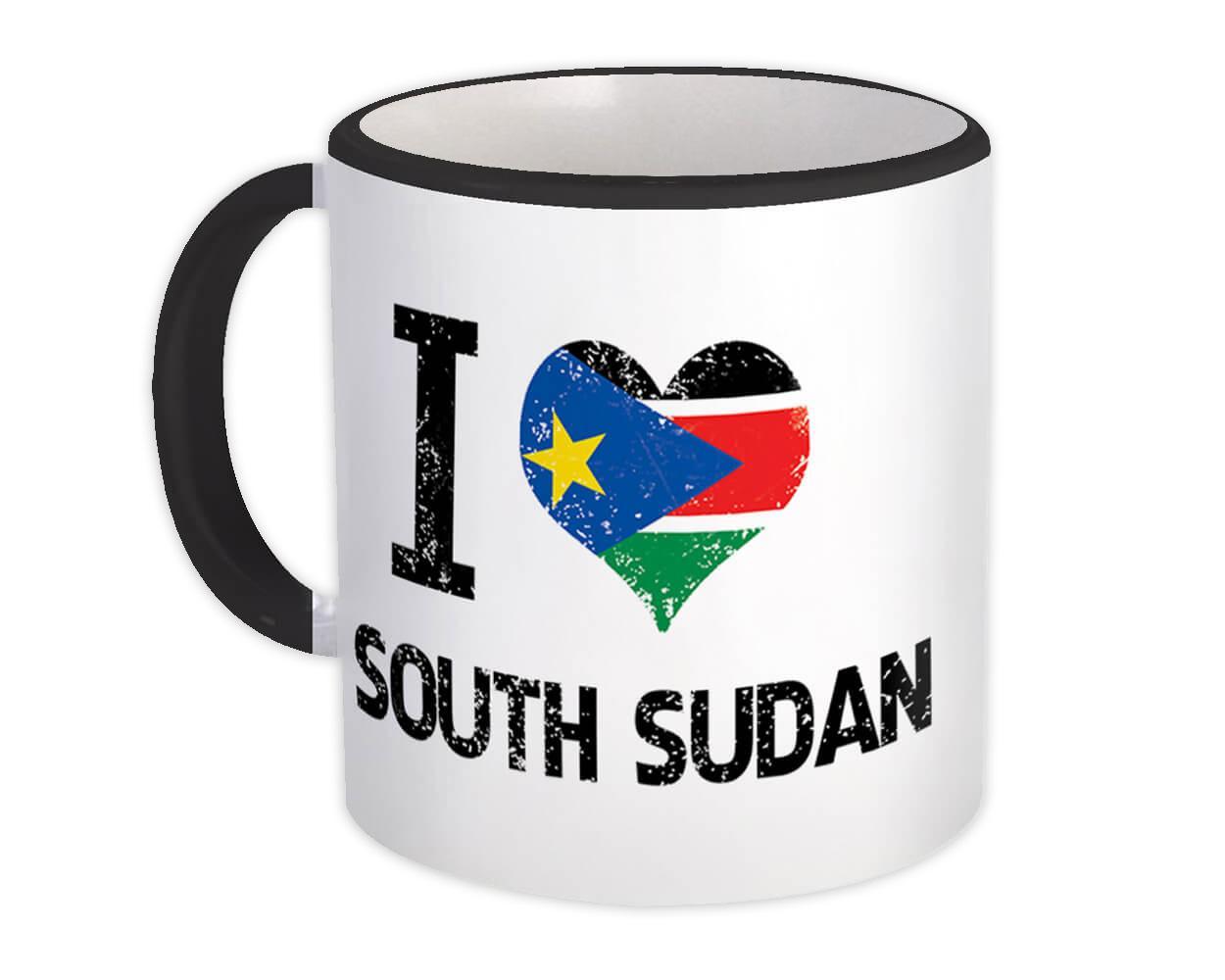 I Love South Sudan : Gift Mug Heart Flag Country Crest South Sudanese Expat