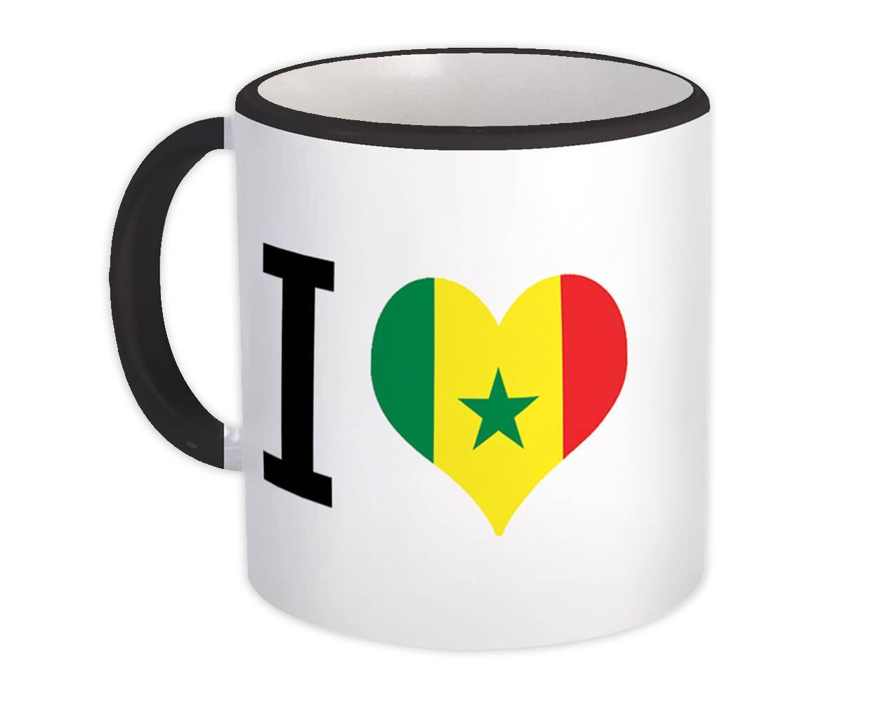 I Love Senegal : Gift Mug Flag Heart Crest Country Senegalese Expat