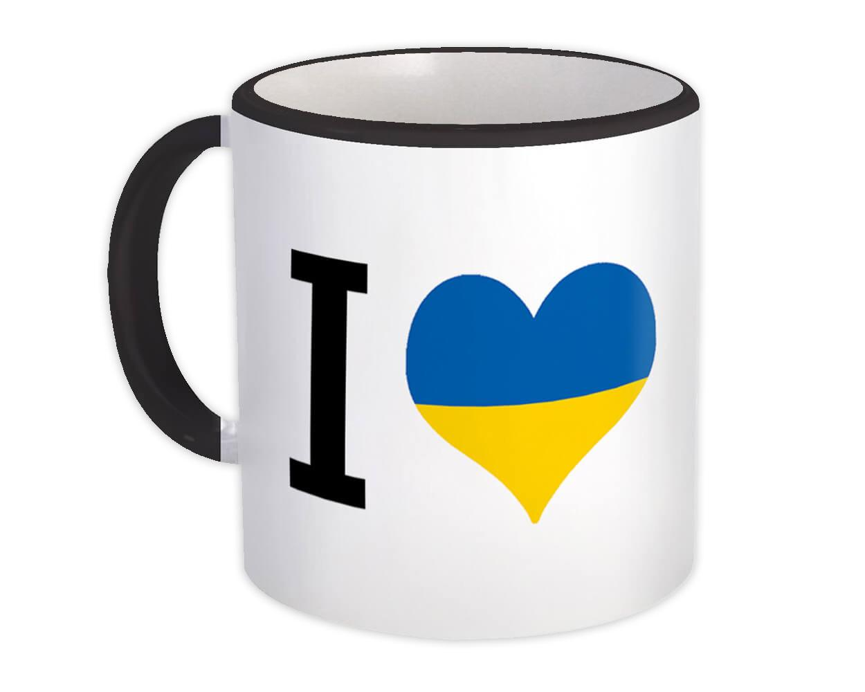 I Love Ukraine : Gift Mug Flag Heart Crest Country Ukrainian Expat