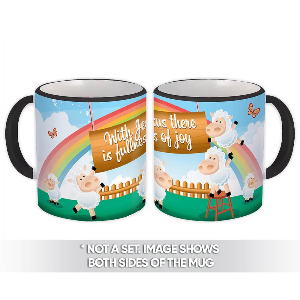 Happy Sheep : Gift Mug Christian Religious Catholic Jesus God Faith Fullness Joy