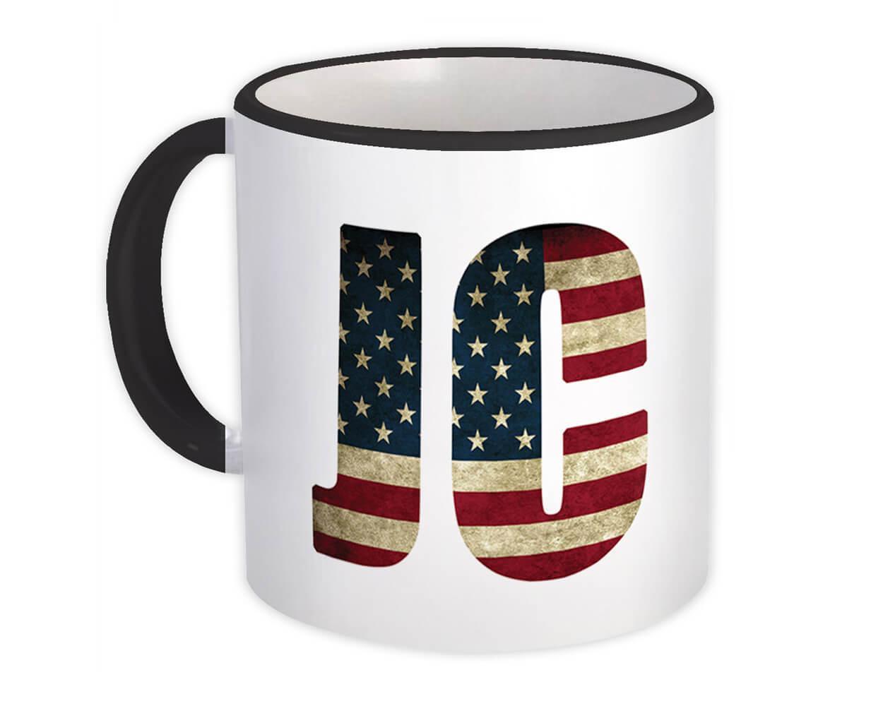 JC American Flag : Gift Mug Christian Jesus USA Patriot Americana United States