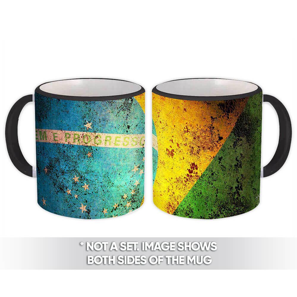 Brazilian Flag : Gift Mug Vintage Cup Brasil Country Brazil