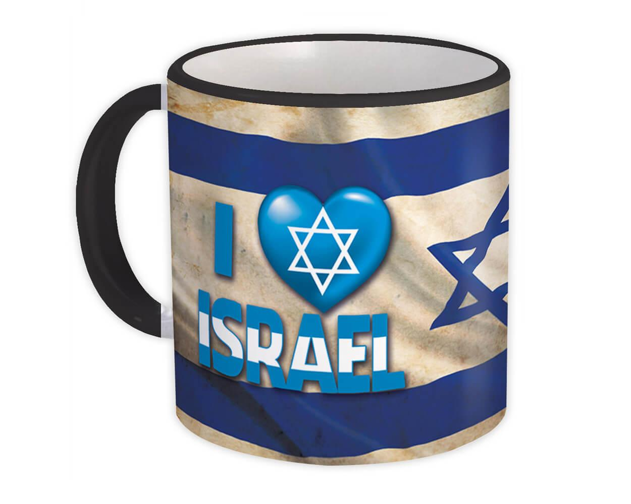 I Love Israel : Gift Mug Christian Flag Heart Jewish Cup