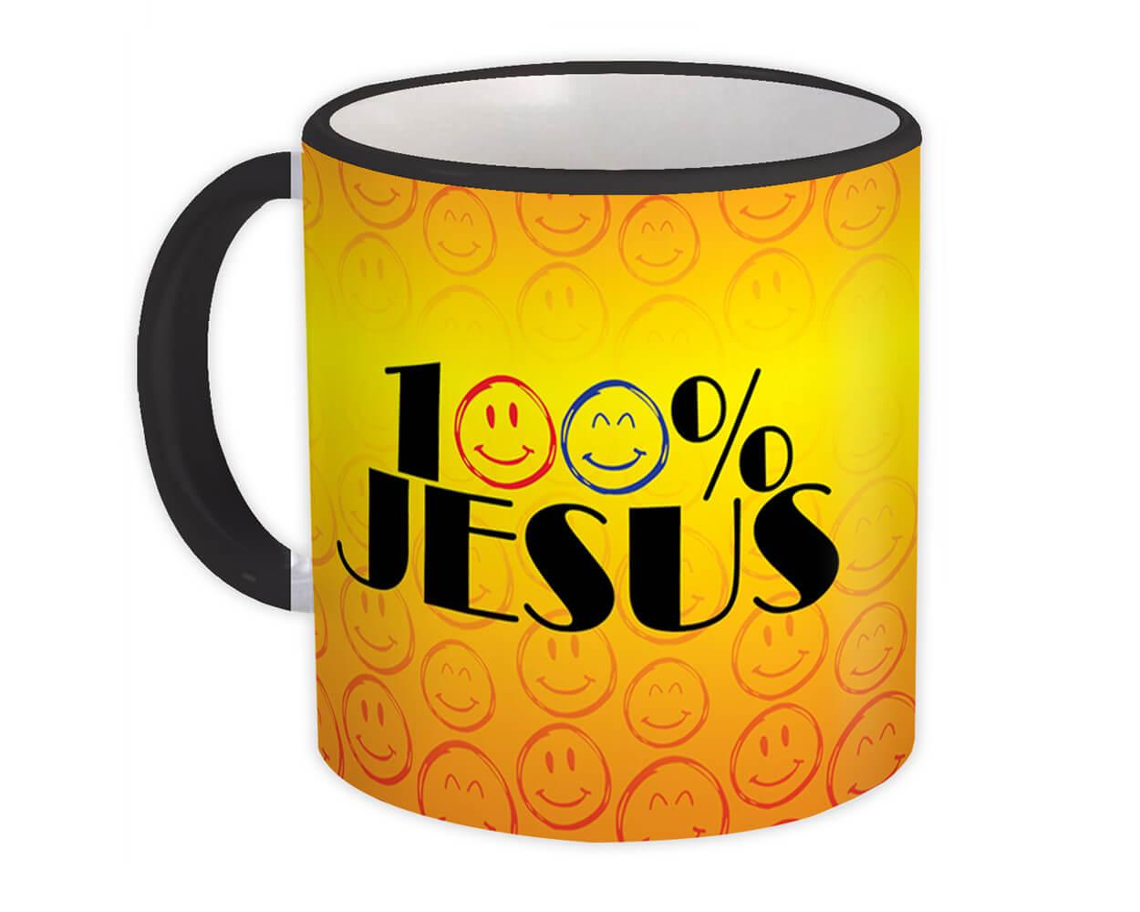100% Jesus Emoji : Gift Mug Evangelical Christian Catholic Cup Funny