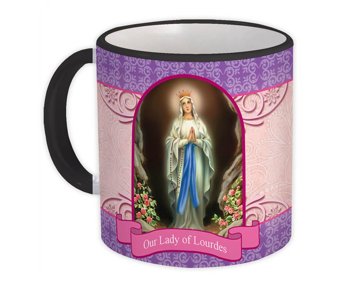 Our Lady Lourdes : Gift Mug Catholic Religious Virgin Saint Mary