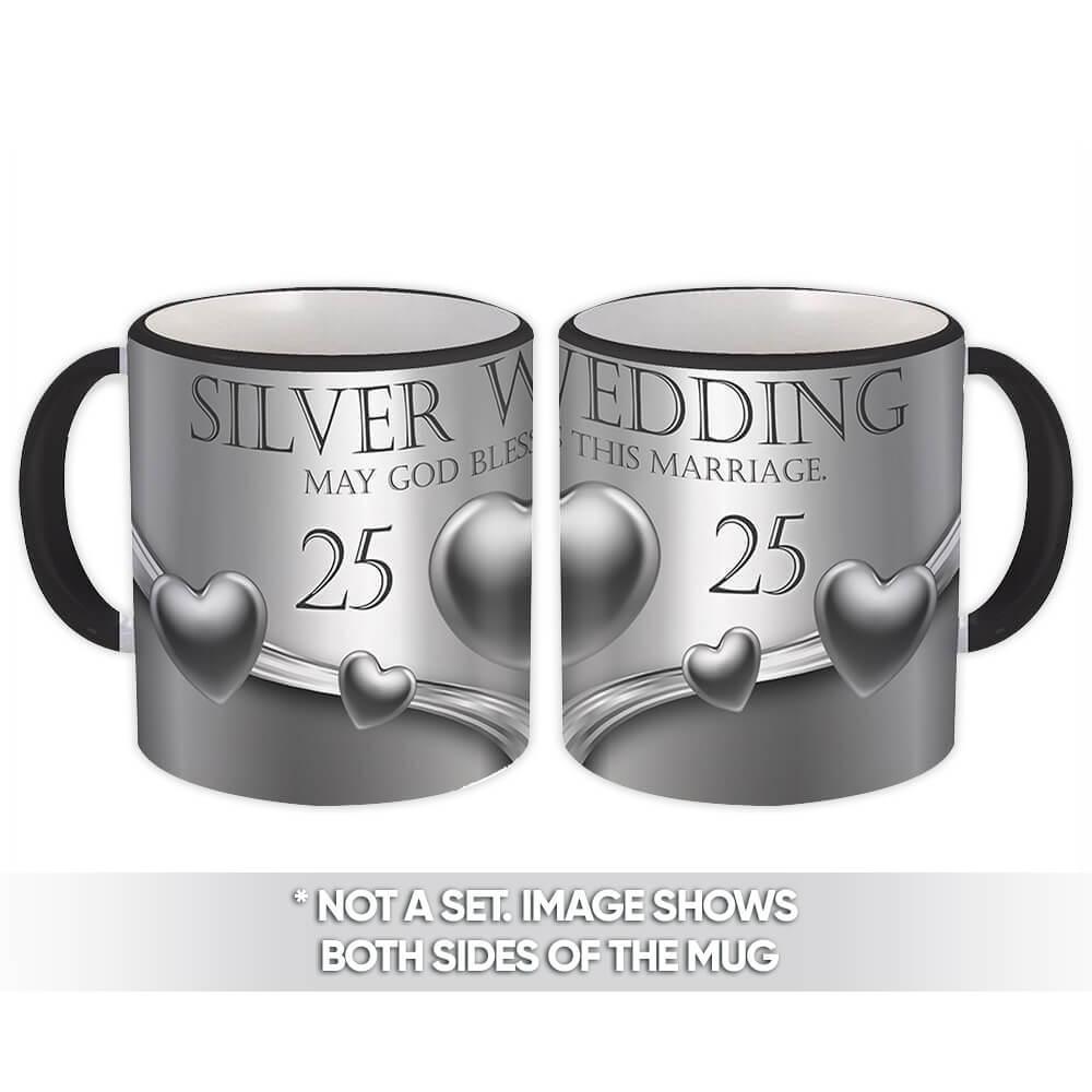 Silver Wedding : Gift Mug Christian Religious Catholic Jesus God 25th Anniversary