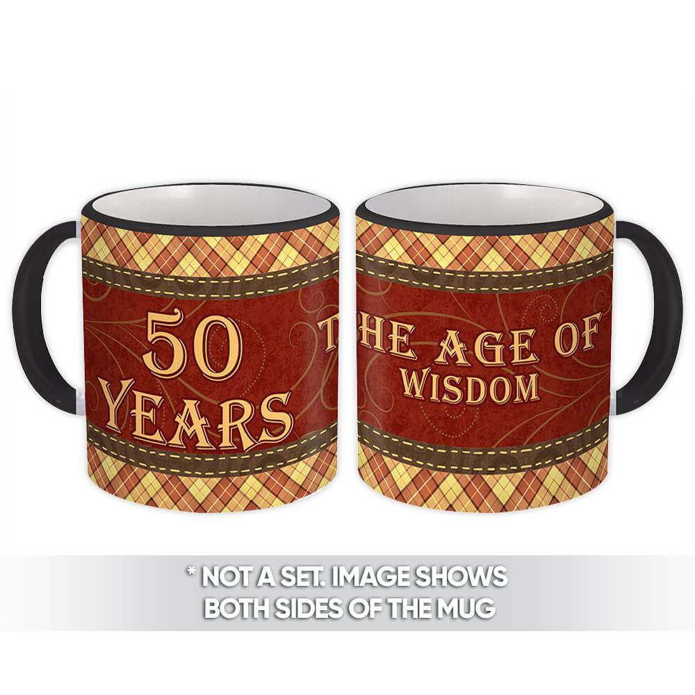 50 Years : Gift Mug Birthday 50Th Birthday Wisdom Checkers Tartan Man