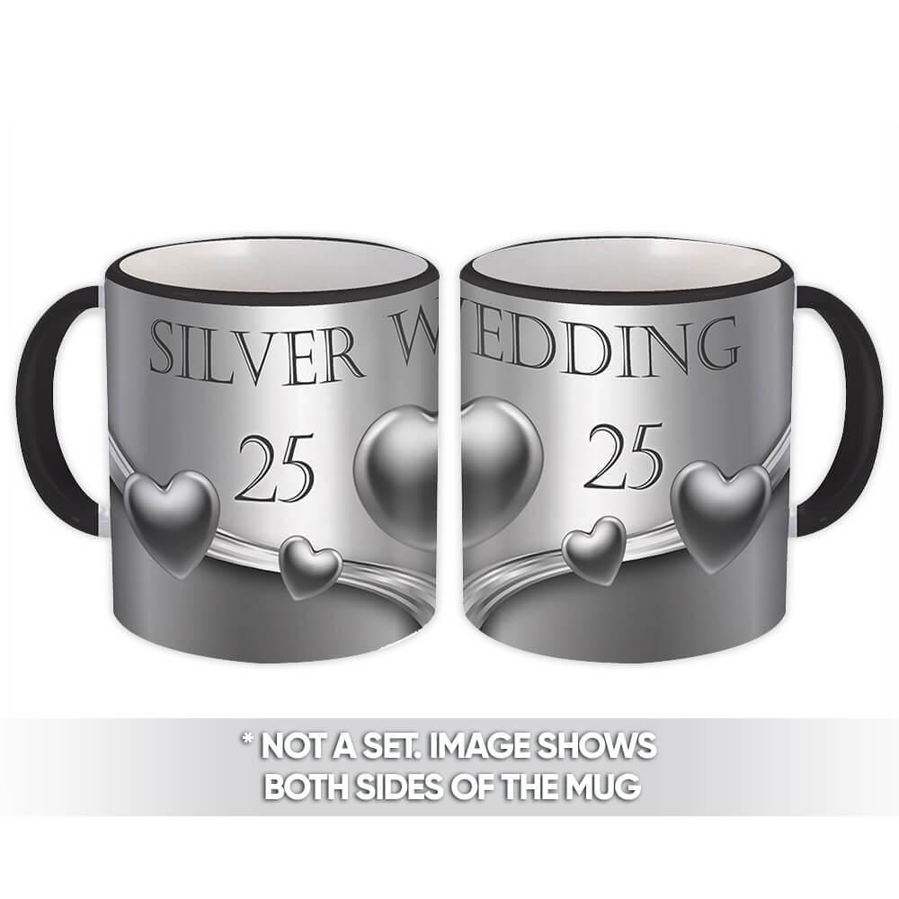 Silver Wedding : Gift Mug 25th Anniversary Premium Party Hearts