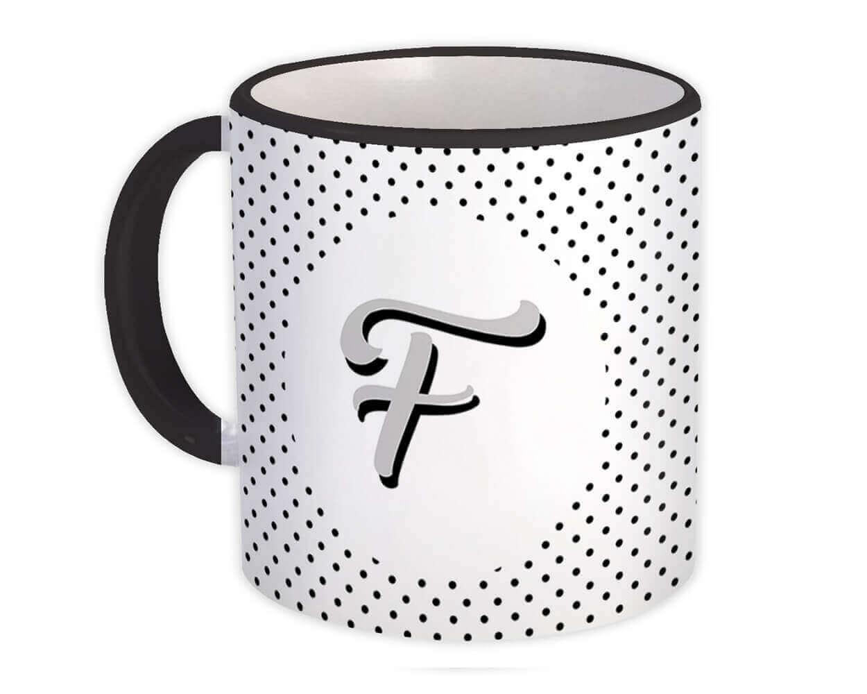 Monogram Letter F : Gift Mug Alphabet Initial Name ABC