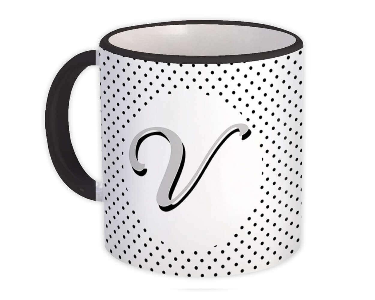 Monogram Letter V : Gift Mug Alphabet Initial Name ABC