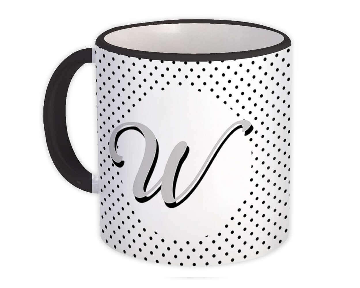 Monogram Letter W : Gift Mug Alphabet Initial Name ABC