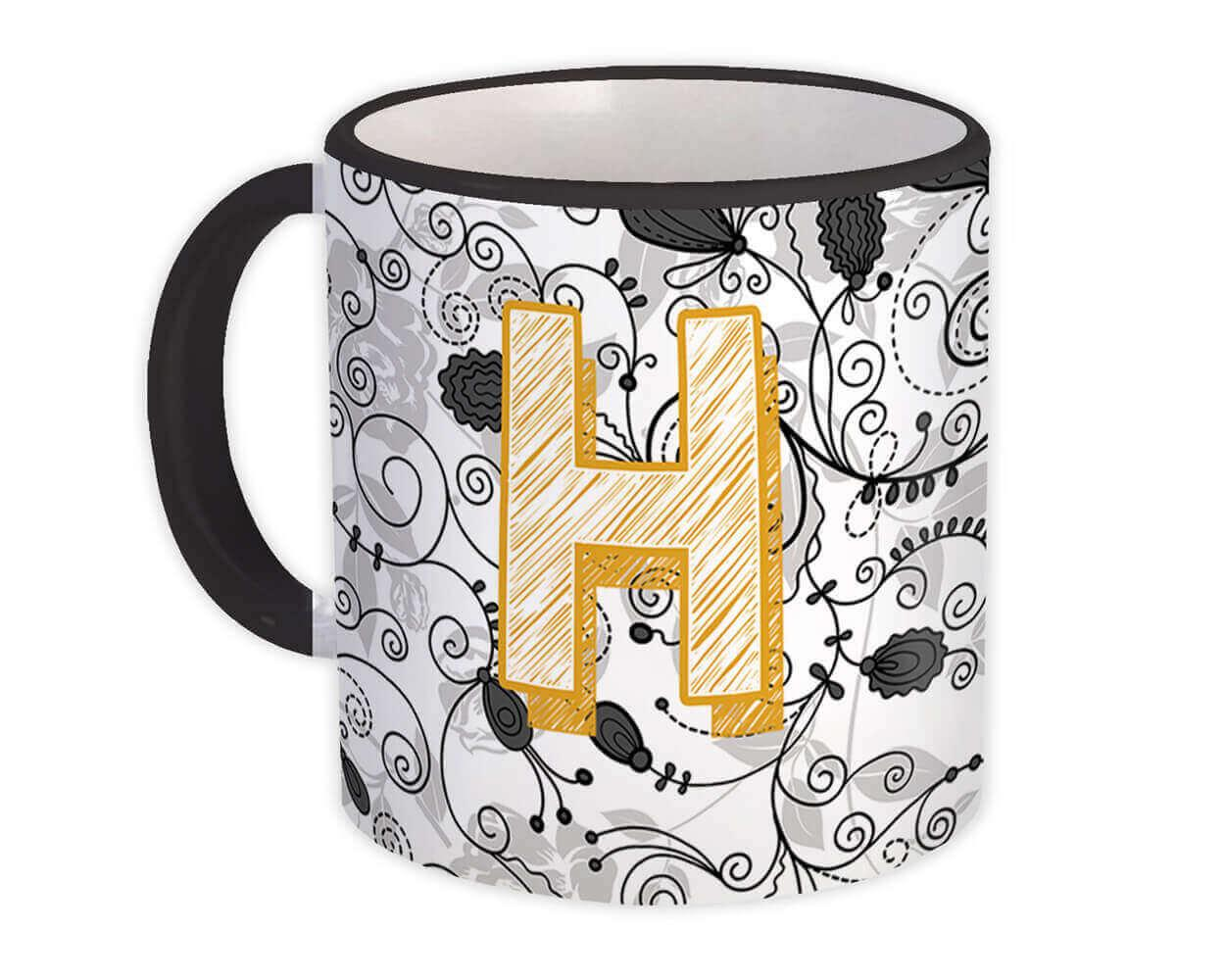 Monogram Letter H : Gift Mug Alphabet Initial Name ABC