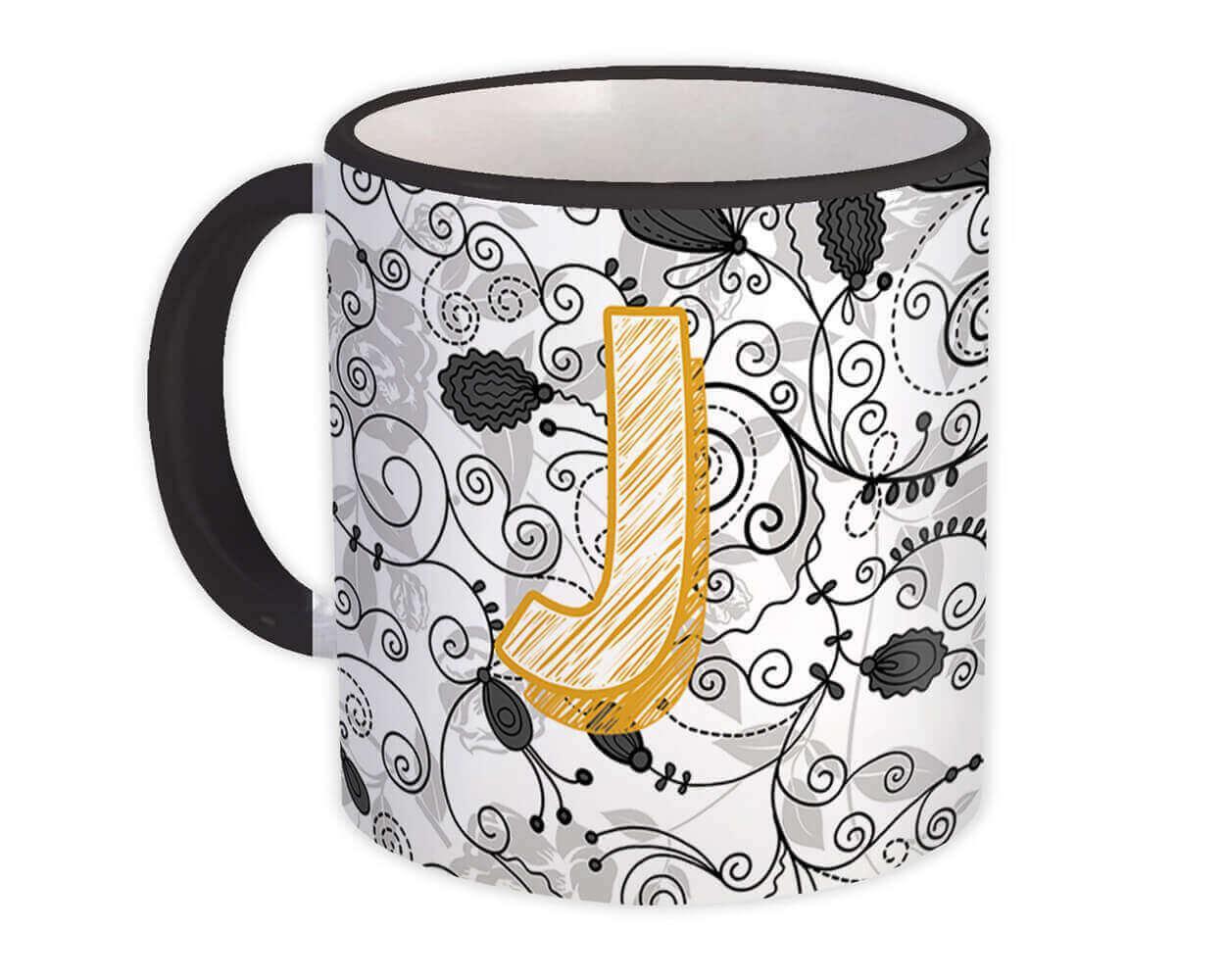 Monogram Letter J : Gift Mug Alphabet Initial Name ABC