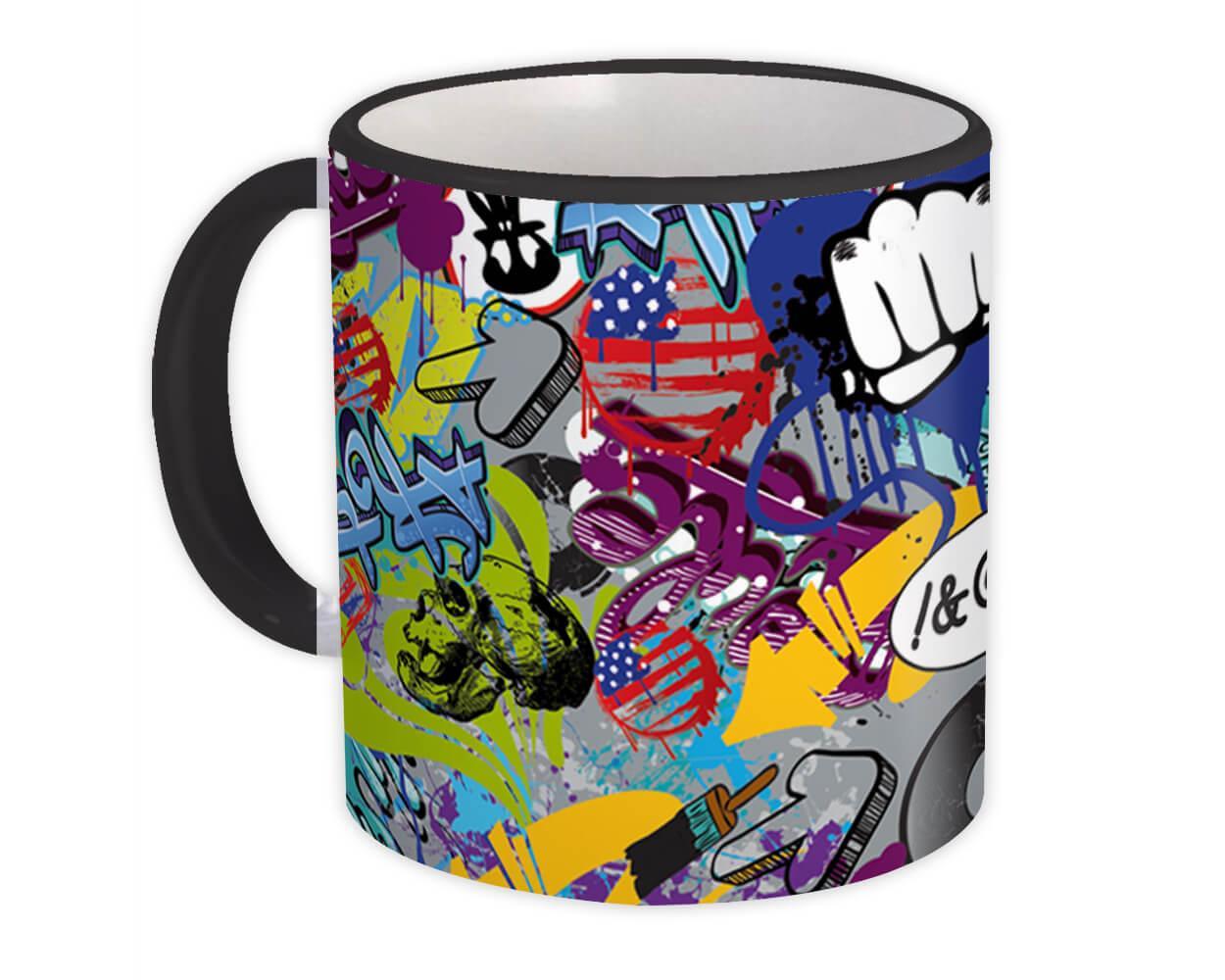 Grafitti Sticker Bomb : Gift Mug Pattern Decal Wrap Around