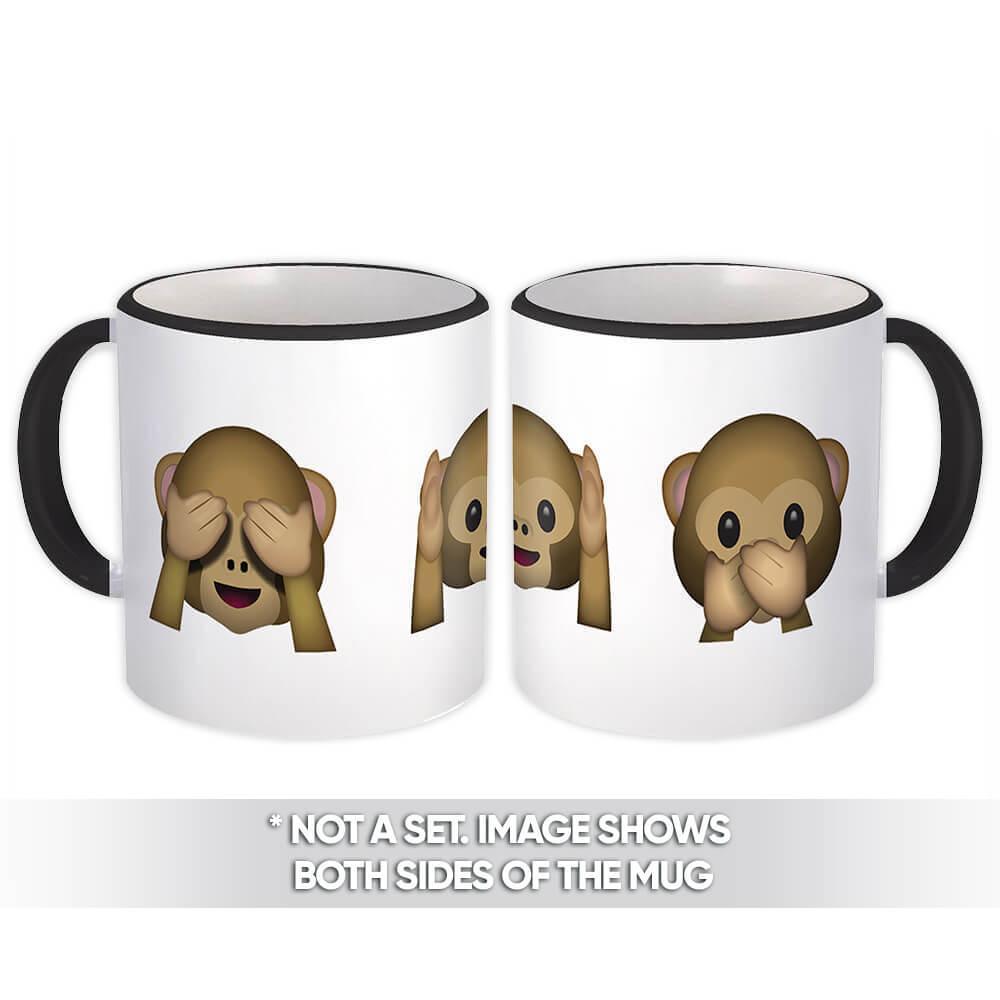 Emoji Monkey : Gift Mug See Hear Speak Three Monkeys Emoticon Geek Funny