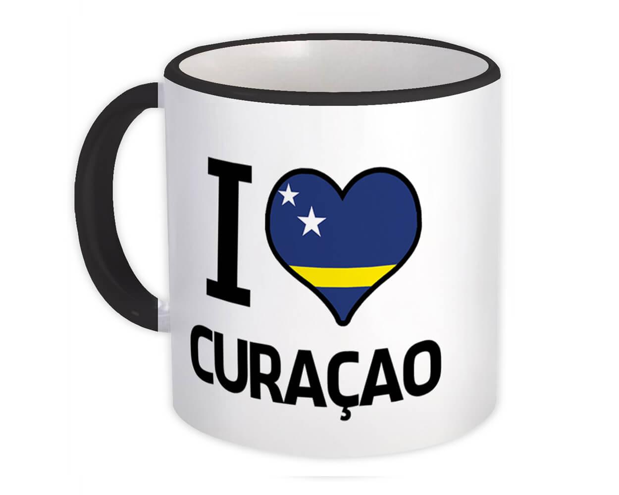 I Love Curaçao : Gift Mug Flag Heart Country Crest Expat
