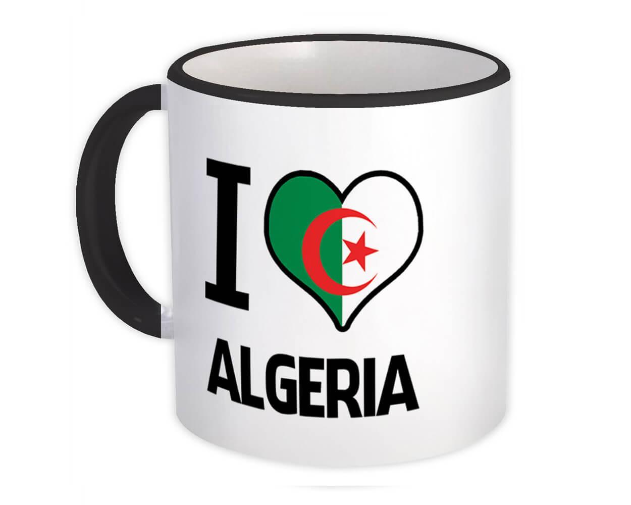 I Love Algeria : Gift Mug Flag Heart Country Crest Algerian Expat