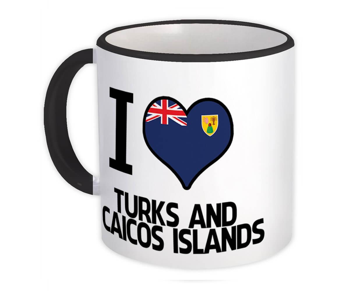 I Love Turks and Caicos Islands : Gift Mug Flag Heart Country Crest Islander