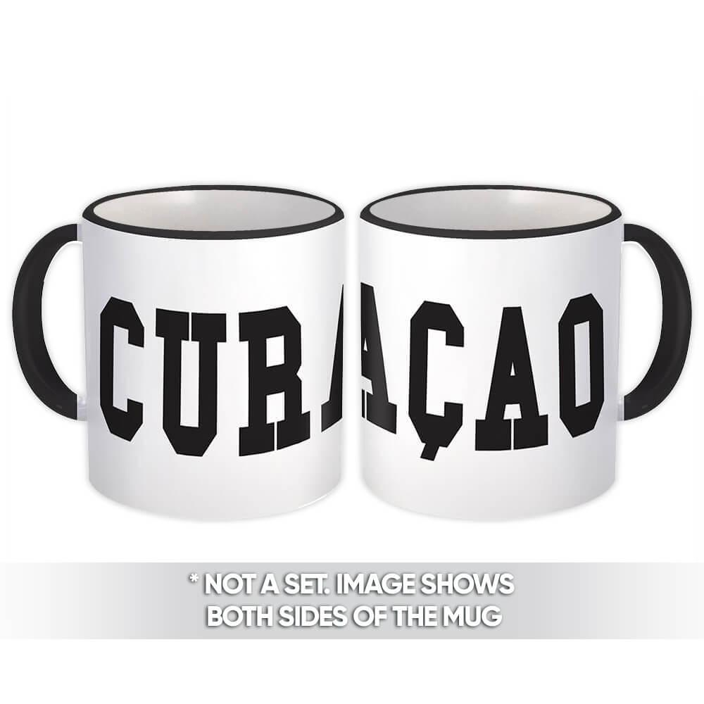 Curaçao : Gift Mug Flag College Script Calligraphy Country Expat