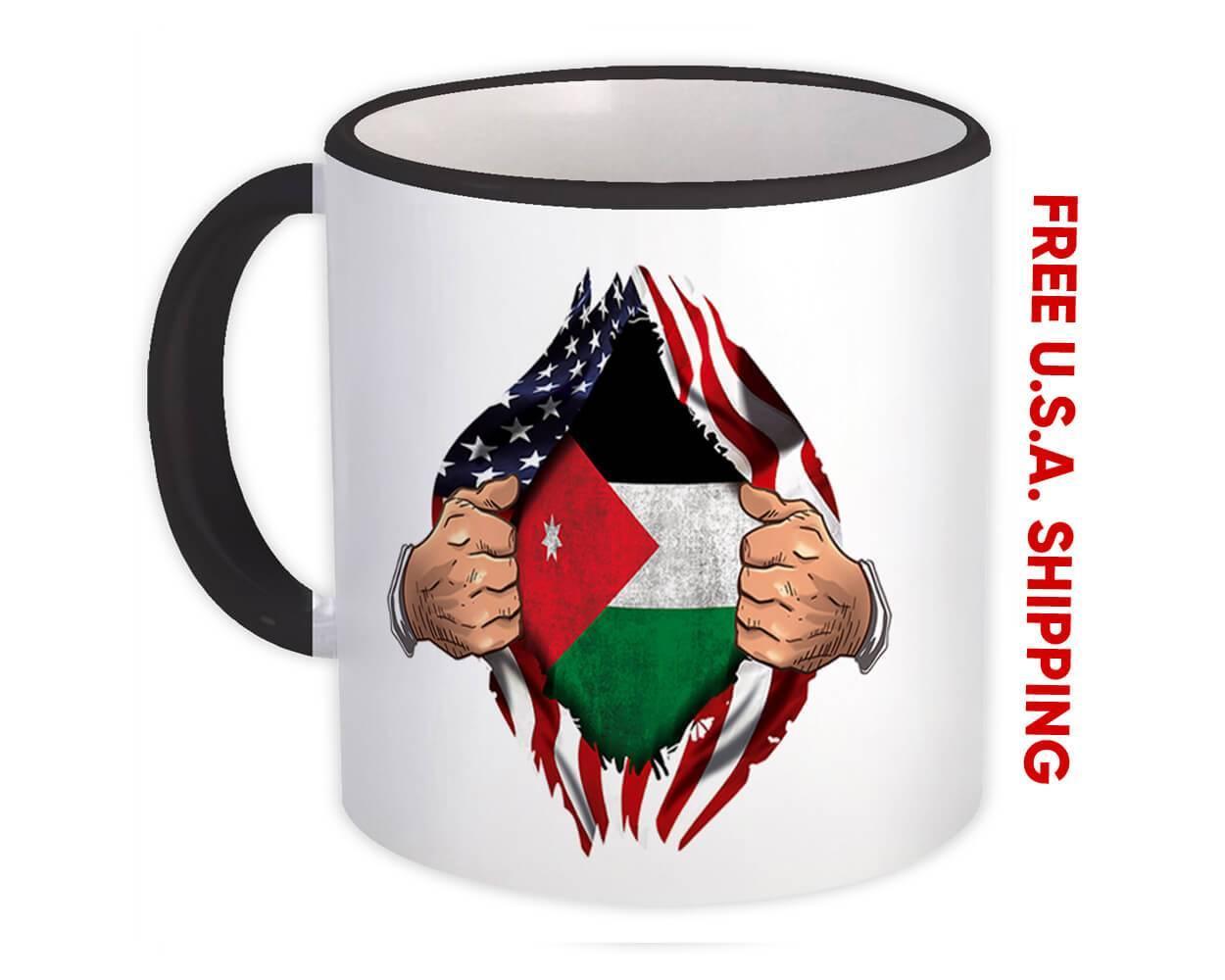 Jordan : Gift Mug Flag USA Chest American Jordanian Expat Country