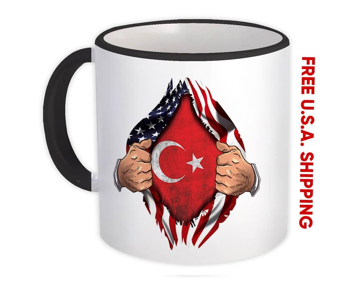 Turkey : Gift Mug Flag USA American Chest Turkish Expat Country