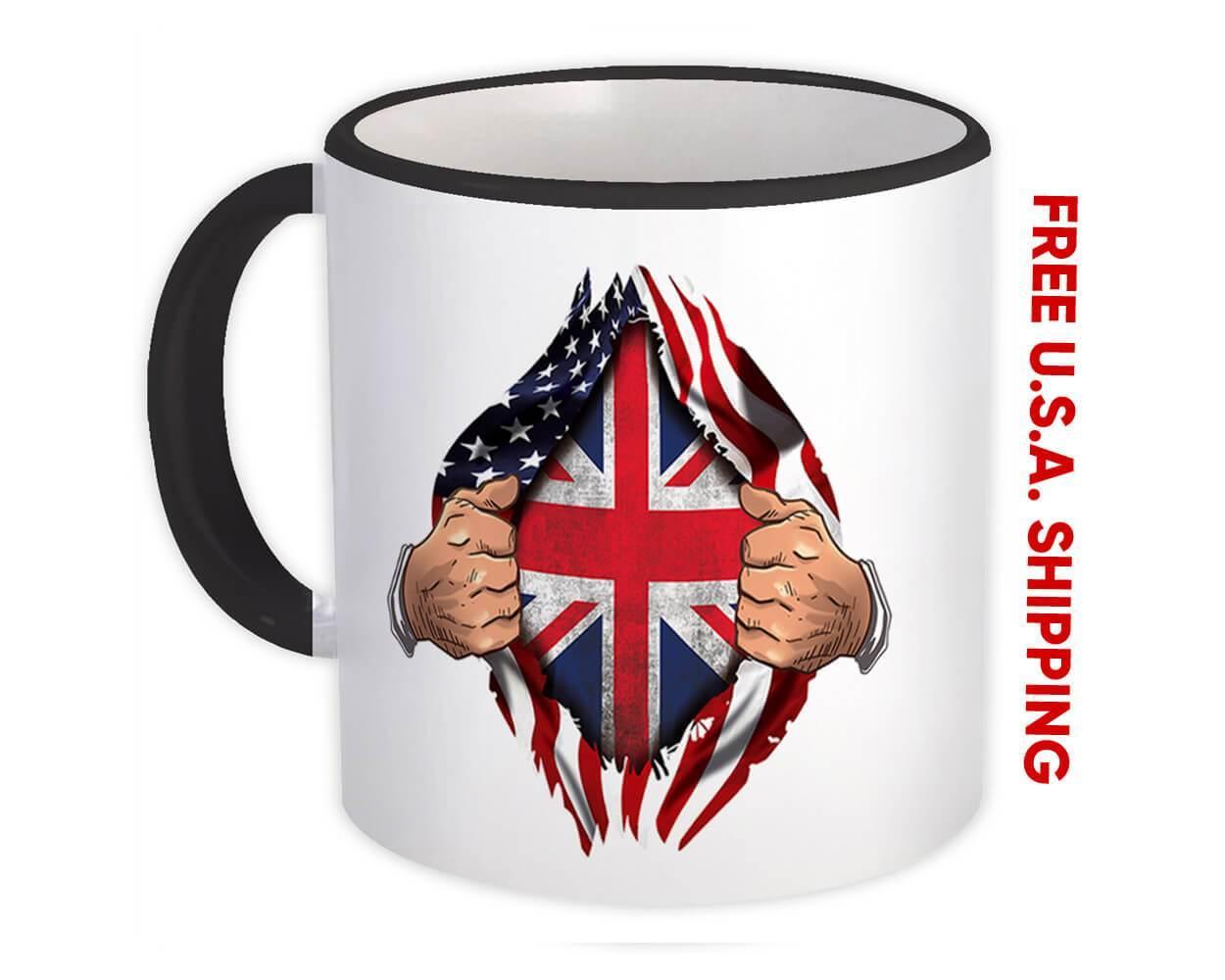 United Kingdom : Gift Mug Flag USA Chest American British Expat Country