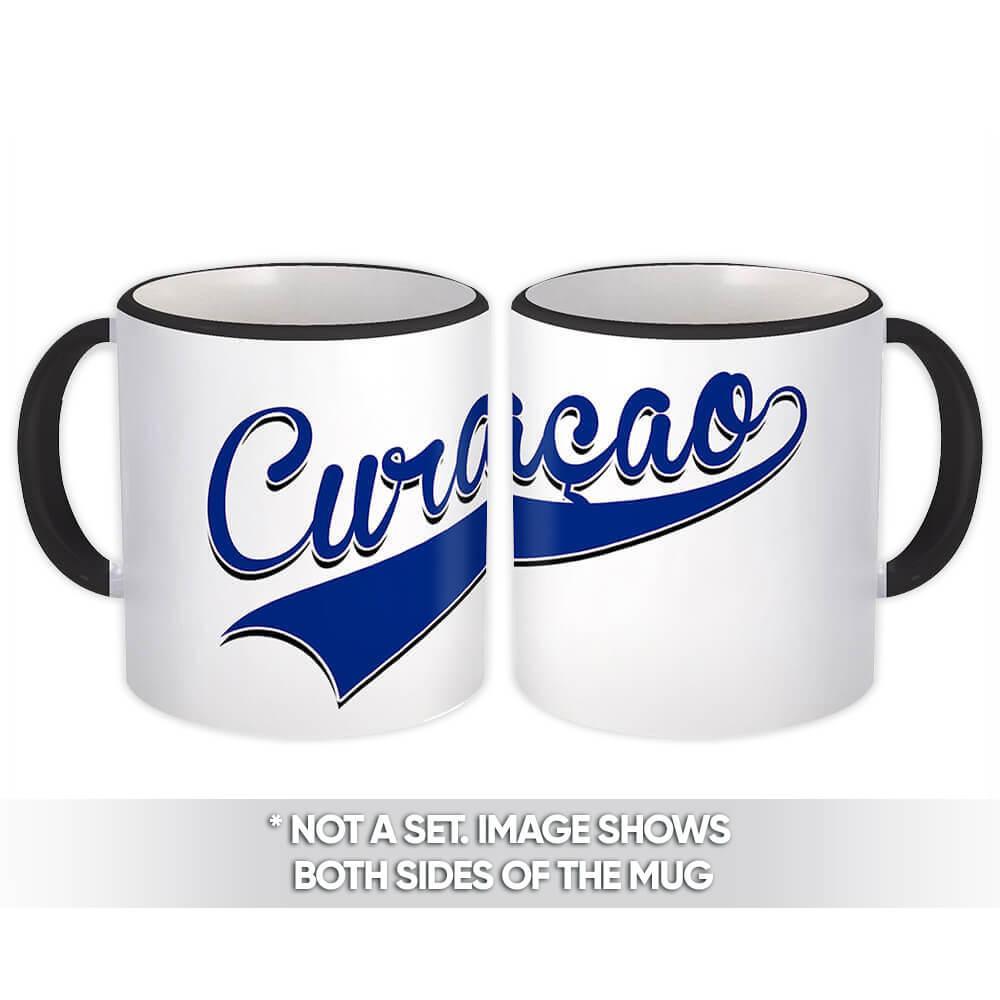 Curaçao : Gift Mug Flag Varsity Script Baseball Beisbol Country Pride