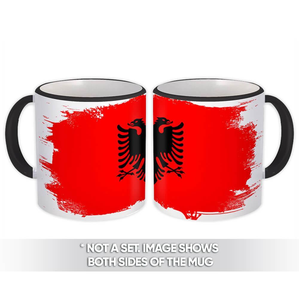 Albania : Gift Mug Distressed Flag Vintage Albanian Expat Country