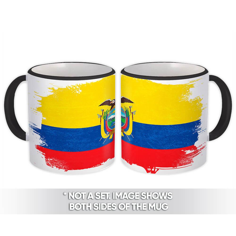 Ecuador : Gift Mug Distressed Flag Vintage Ecuadorian Expat Country