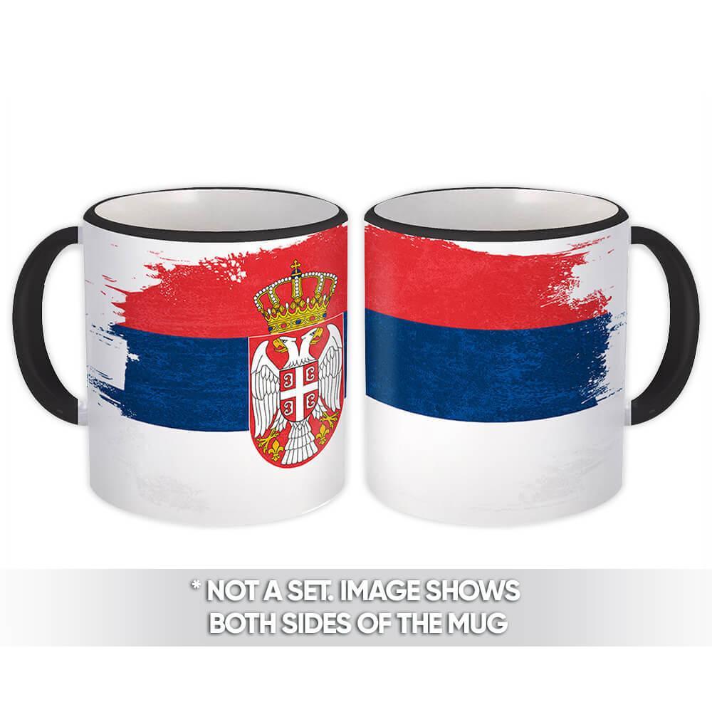 Serbia : Gift Mug Distressed Flag Vintage Serbian Expat Country