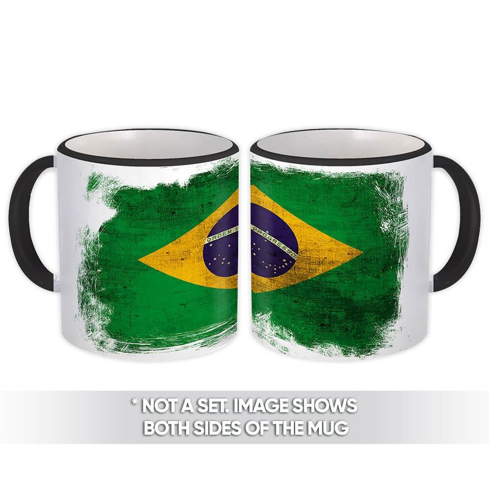 Brazil : Gift Mug Distressed Flag Vintage Brazilian Expat Country