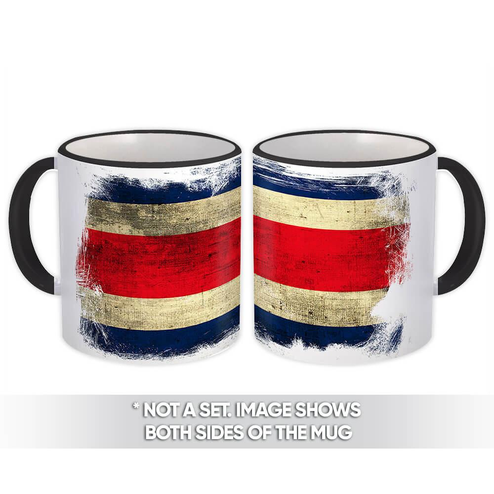 Costa Rica : Gift Mug Distressed Flag Vintage Costa Rican Expat Country