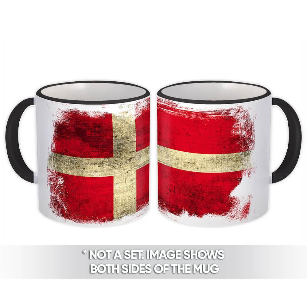 Denmark : Gift Mug Distressed Flag Vintage Danish Expat Country