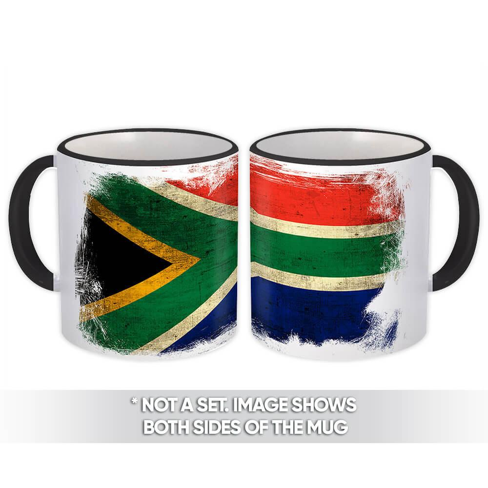 South Africa : Gift Mug Distressed Flag Vintage South African Expat Country